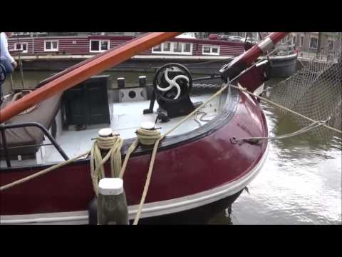 Beautiful Barges and terrific tugs, houseboats in Leeuwarden, Holland
