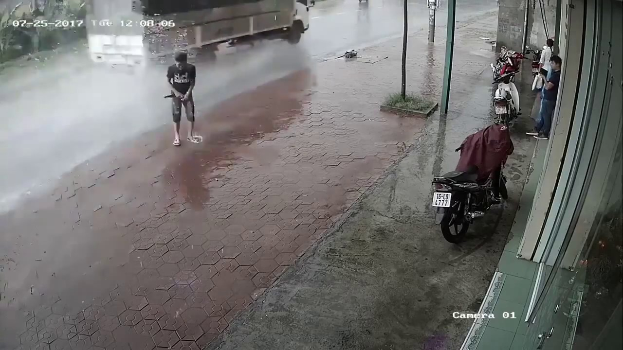 Man pees in the street and .