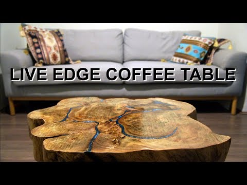 RESIN & WOOD LIVE EDGE TABLE - From fallen tree to coffee table