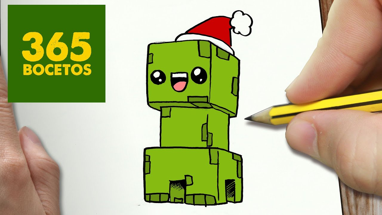 Dibujos Para De Minecraft Impri On Dibujos Para De: COMO DIBUJAR UN CREEPER PARA NAVIDAD PASO A PASO: Dibujos
