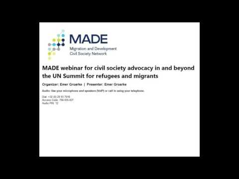 MADE webinar for civil society advocacy in and beyond the UN Summit for refugees and migrants held o