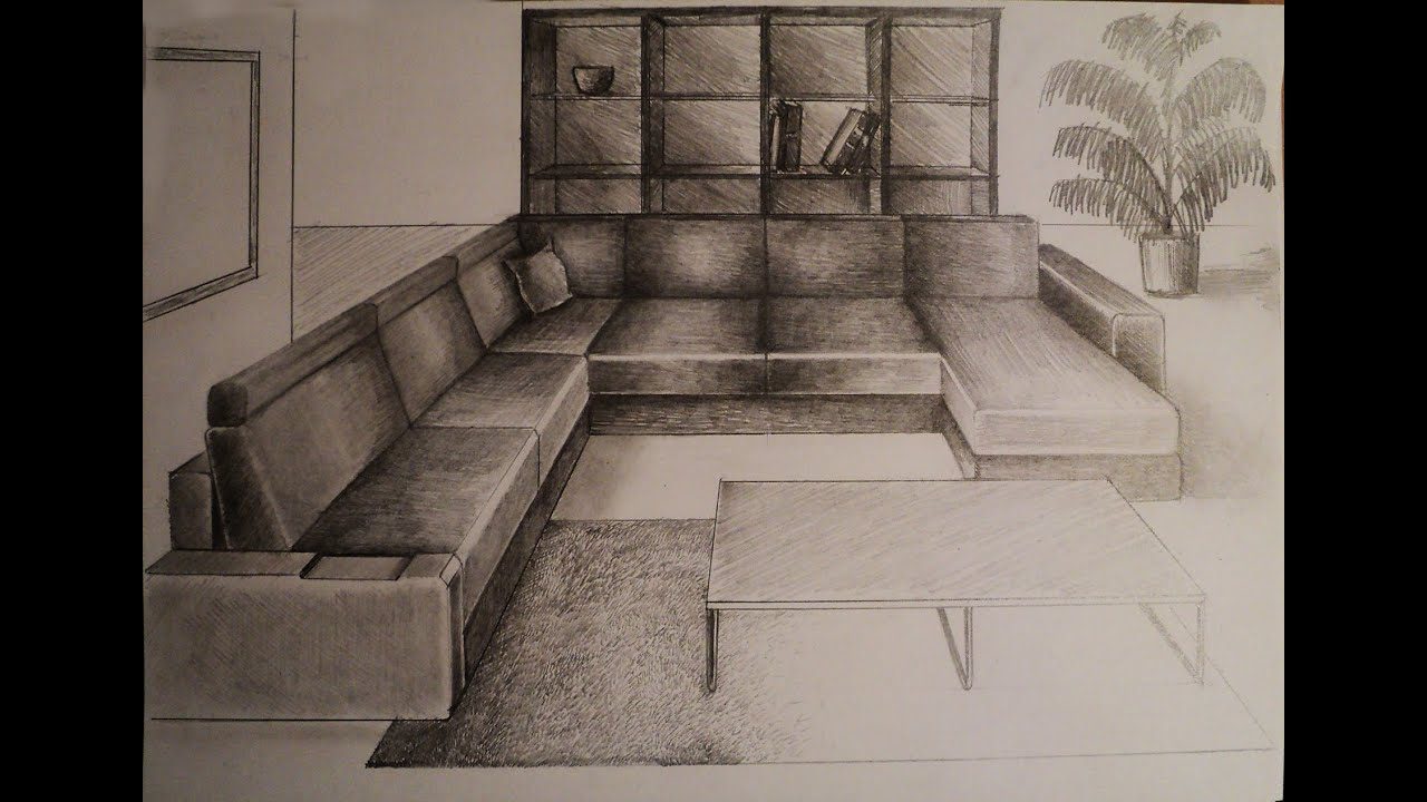 How to draw one point perspective living room - One point perspective drawing living room ...