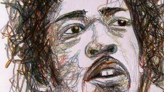 One Line Drawing - Jimi Hendrix