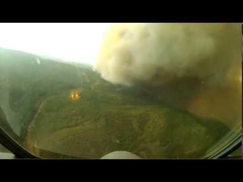Cockpit Footage of Aerial Firefighting Over Yosemite National Park - Water Drop Over Forest Fire