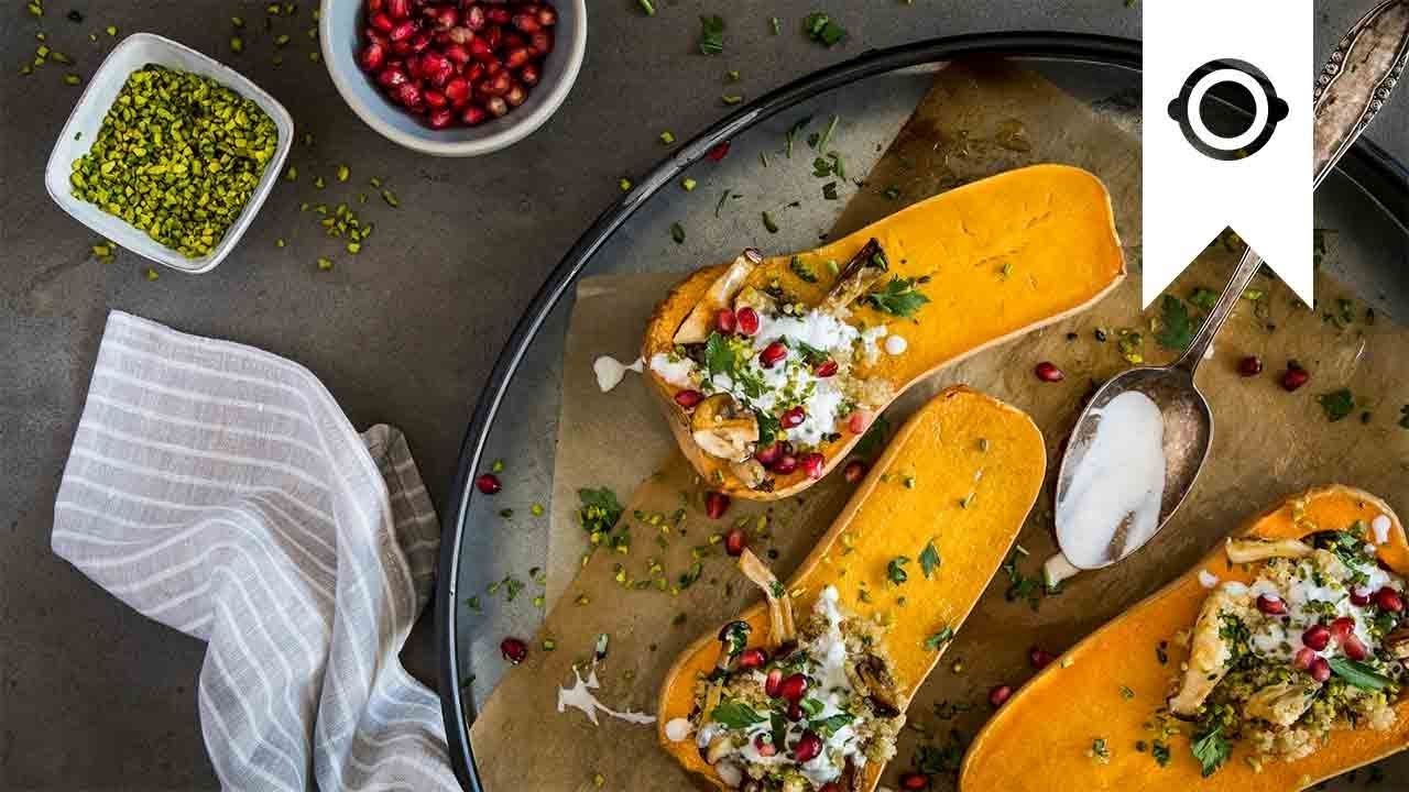 Gefüllter Butternut Kürbis Rezept Mit Pilzen Und Quinoa Edeka
