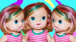 BABY ALIVE ❤ RAINBOW HAIR ❤ DIY Color Hair Dye Markers Baby Doll Toy Kids Craft Fun Toys Video
