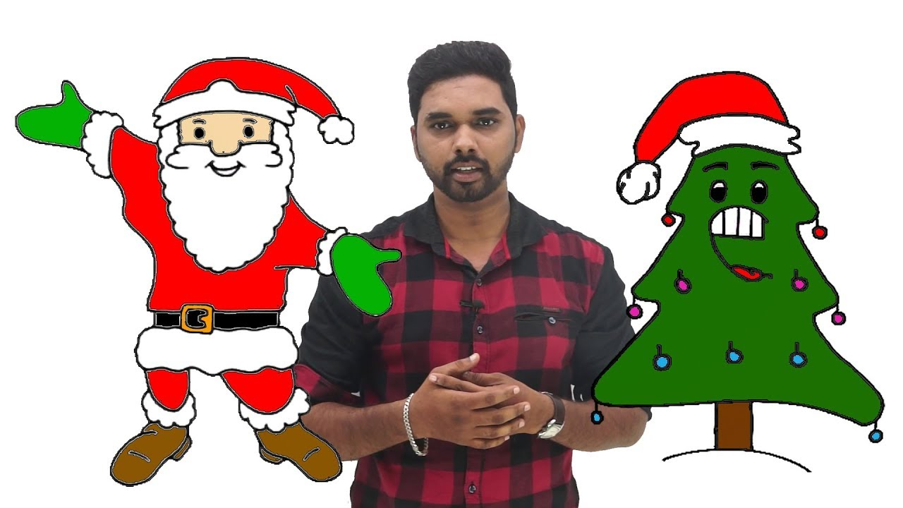 How To Draw Santa Claus How To Draw A Christmas Tree Step By Step For Kids Christmas Drawings Youtube