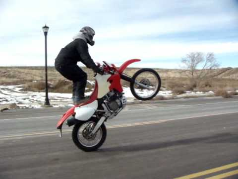 xr650r wheelie standing up seat stand youtube