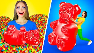 REAL FOOD VS GUMMY FOOD CHALLENGE || Eating Giant Gummy Bear & Worm! Yummy Jelly Pranks by RATATA