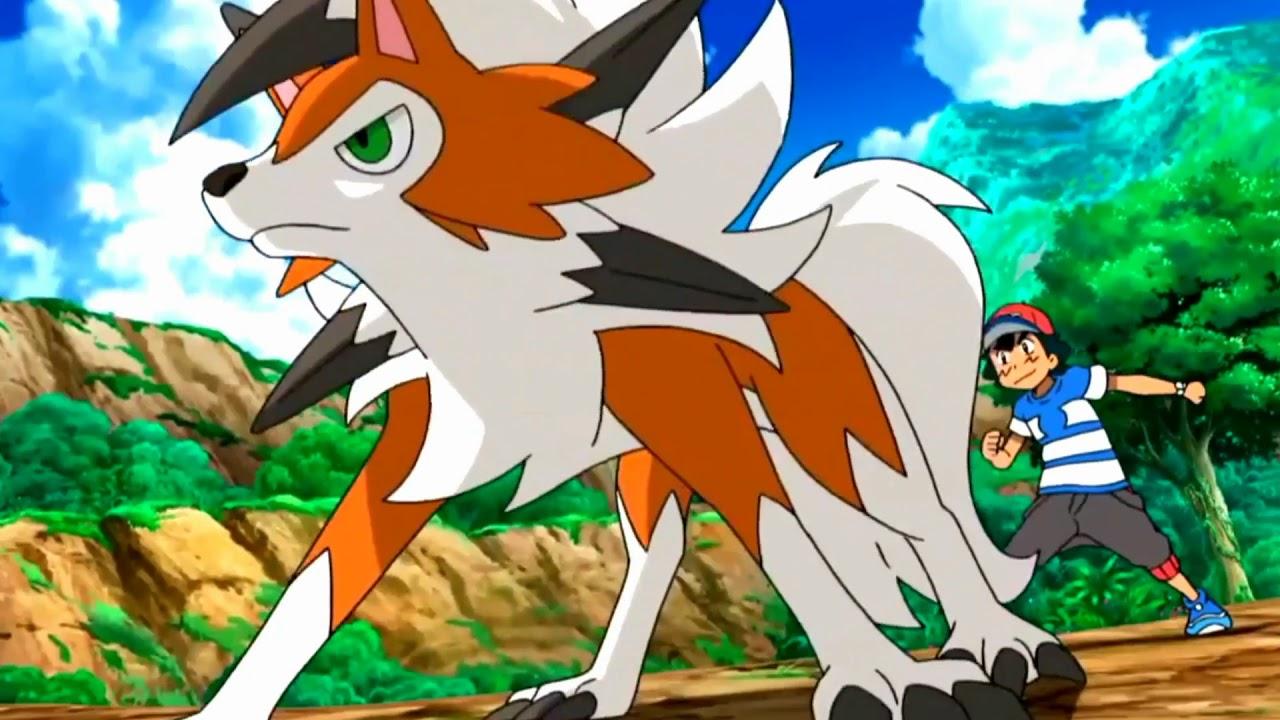 Gladion vs Ash ( Lycanroc Vs Rockruff ) Pokemon Sun Moon