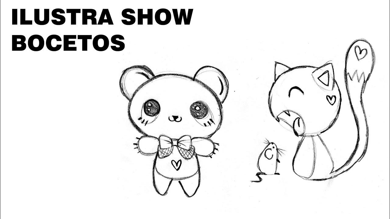 Como Dibujar OSO PANDA GATO KAWAII Tutorial ILUSTRA SHOW
