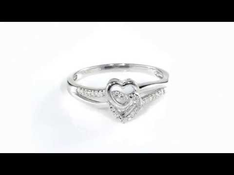 Diamond Double Heart Sterling Silver Promise Ring
