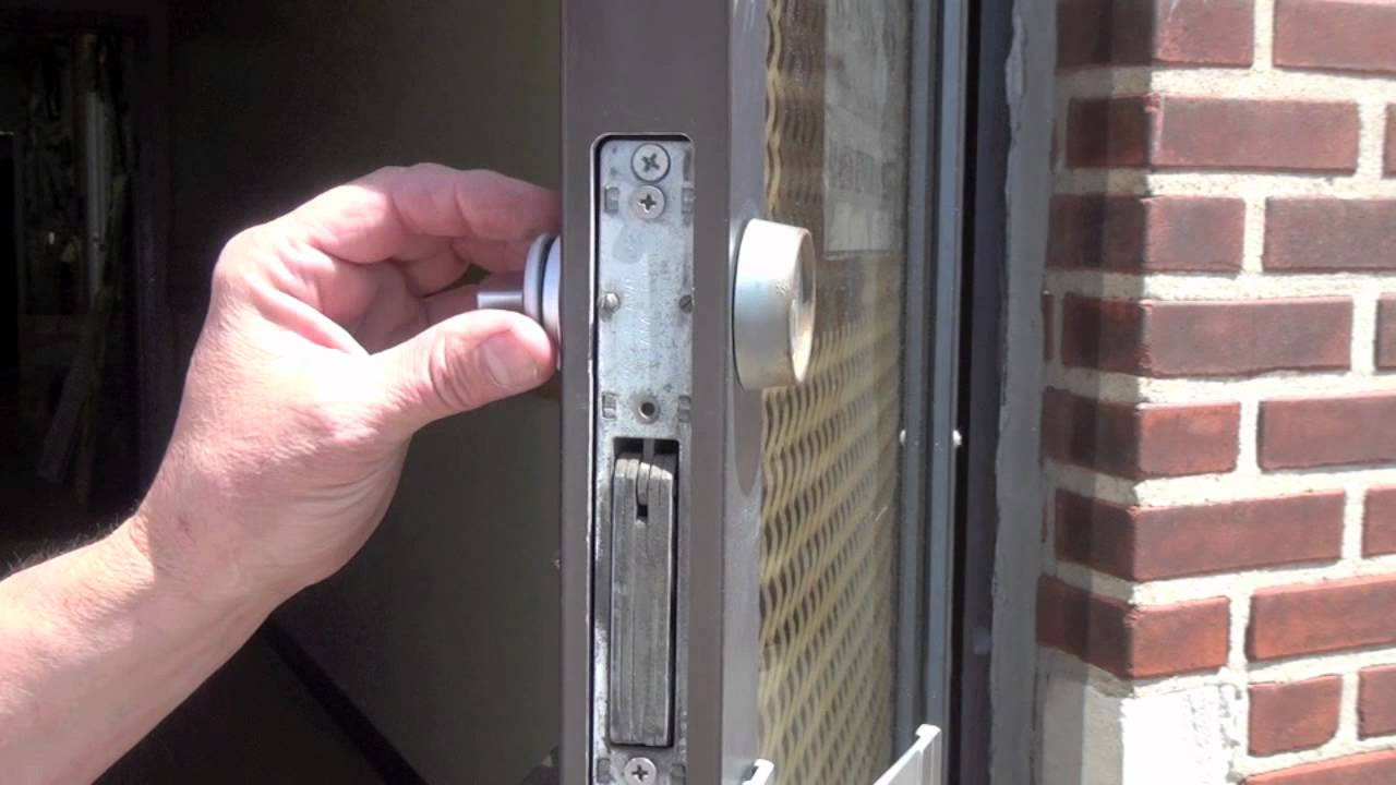 how to replace a commercial storefront keyed cylinder with a thumbturn [ 1280 x 720 Pixel ]