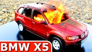 Burning my BMW X5! The Car is on FIRE! Toy Car BURNOUT