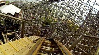 Boardwalk Bullet Wooden Roller Coaster POV Kemah Texas
