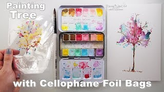 Painting HACK with Cellophane Foil Bags Watercolor Tree for Kids ♡ Maremi's Small Art ♡
