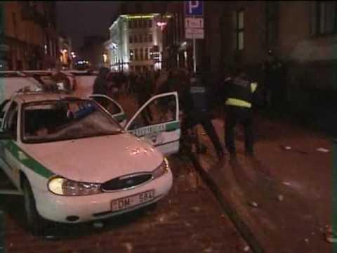 Anti-government riots in Riga, Latvia