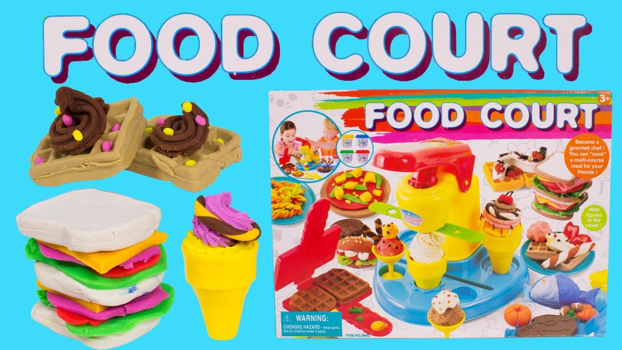 dough food court playset play doh cooking set toy food playdoh ice cream desserts youtube. Black Bedroom Furniture Sets. Home Design Ideas