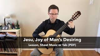 Lesson & Free PDF: Jesu, Joy of Man's Desiring by Bach for Classical Guitar