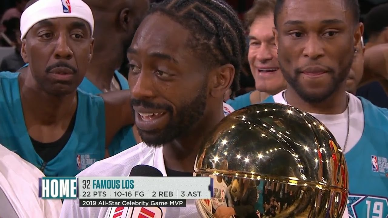 2019 NBA Celebrity Game - Famous Los Wins MVP Award | 2019 NBA All-Star Weekend - YouTube