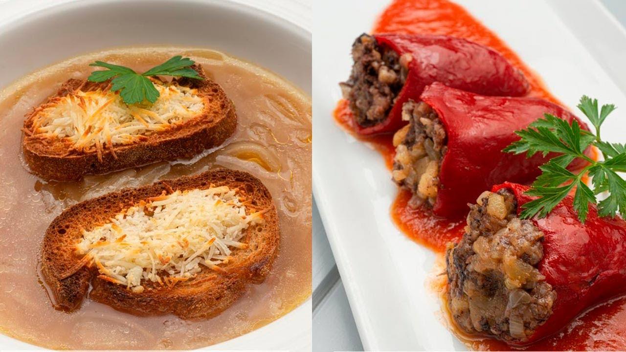 Sopa De Cebolla Y Queso Pimientos Rellenos De Morcilla Cocina Abierta De Karlos Arguiñano Youtube