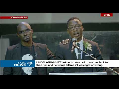 Andile Ncube breaks as he reads Akhumzi's mom's farewell message