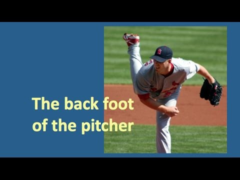 What does a pitcher do with his back foot?
