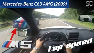 Mercedes-Benz C63 AMG (2009) (VS BMW M5) on German Autobahn - POV Top Speed Drive