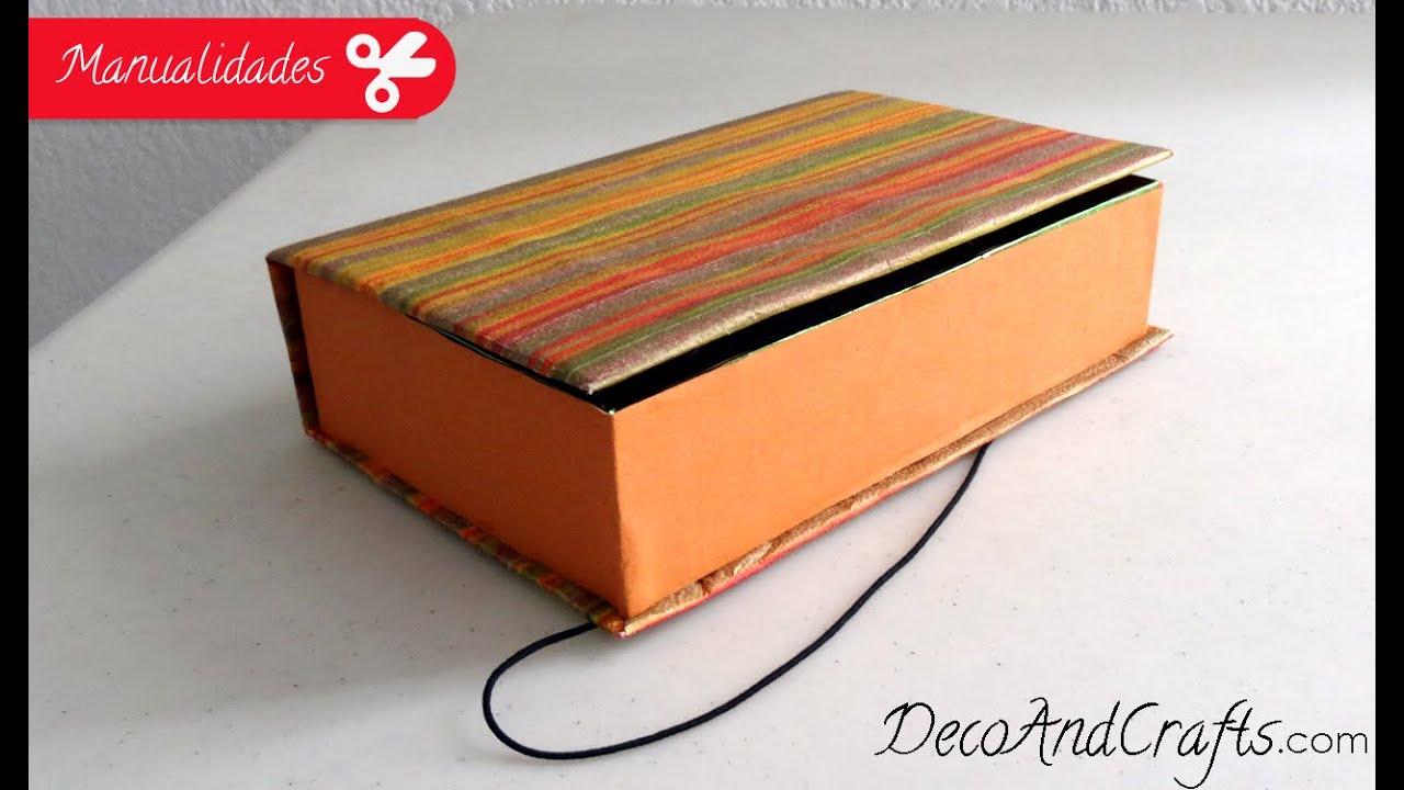 Cajita de cartón forma de libro - Manualidad con cartón l ...