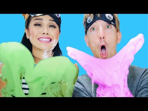 Blindfolded Slime Challenge! Making Giant Fluffy Slime With Chad Wild Clay!