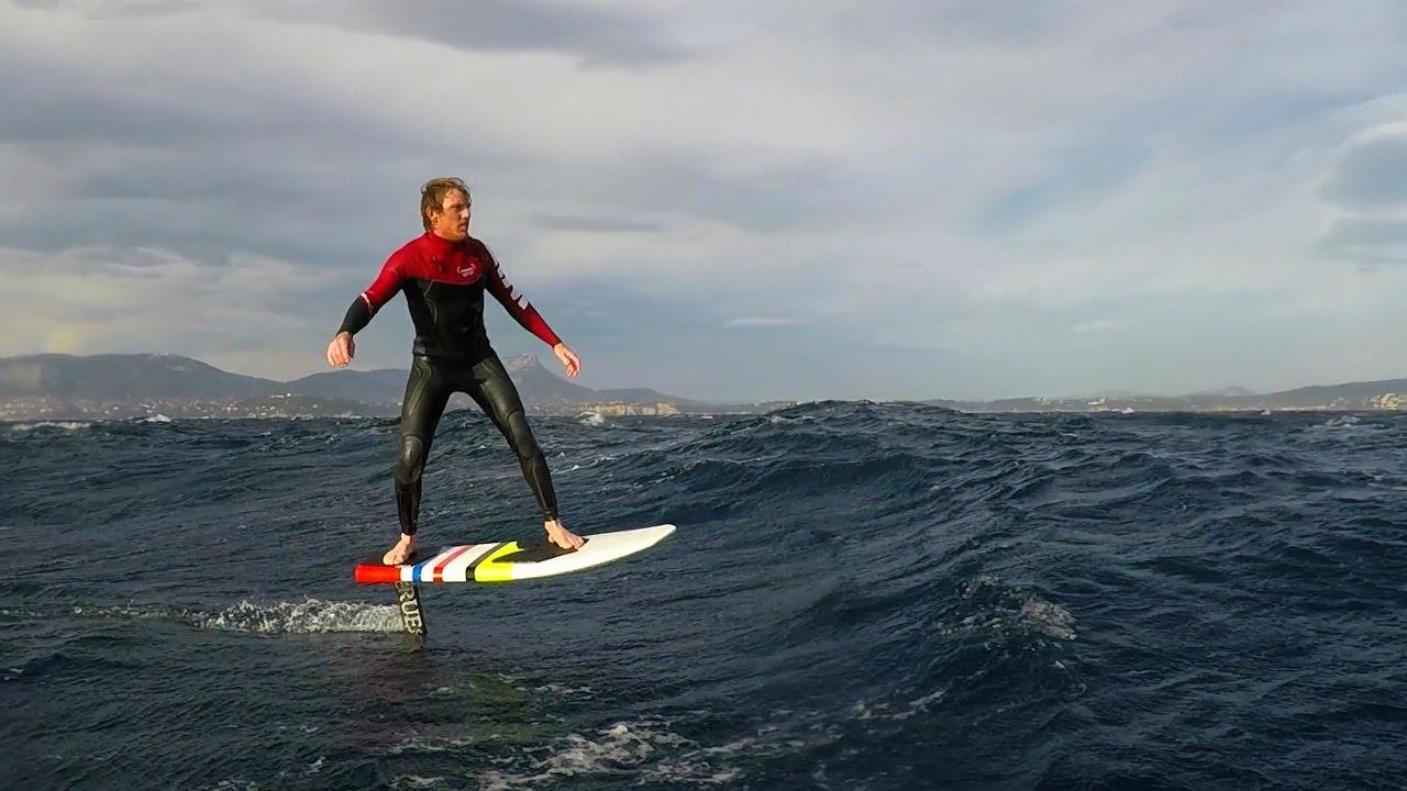 Surf Downwind Hydro Foiling In Mediterranean Sea Raw Footage