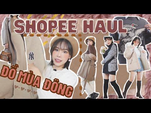 SHOPEE HAUL #3   GIVEAWAY QUẦN ÁO MÙA ĐÔNG   Áo len, cardigan, áo phao, sweater siêu xinh chỉ từ 51k