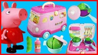 佩佩豬粉紅豬小妹與Hello Kitty 凱蒂貓能變成廚房的移動餐車玩具