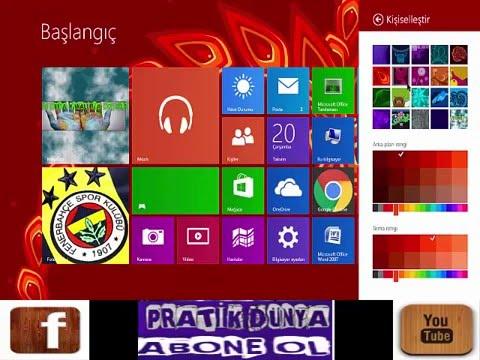 Windows 8.1 Başlangıç'ta Arka Planı ve Renkler Nasıl Değiştirilir ?