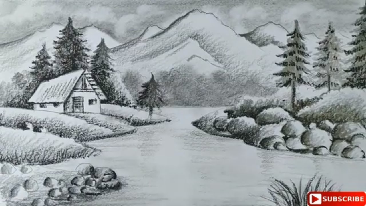 How To Draw Easy Pencil Sketch Scenery For Kids Landscape Hill Scenery Drawing Pahar Scenery Draw Youtube