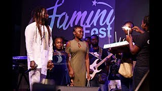Samini Two Lovely Daughters Present Birthday Cake To Daddy At 2018 Saminifest