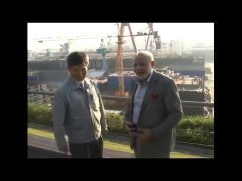 PM Modi visits the Hyundai Heavy Industries Shipyard in Ulsan