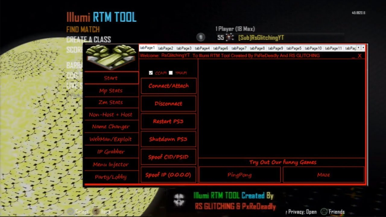 [PS3/BO2] Illumi RTM TOOL #3 (Fake Lvl, IP Grabber, IP Spoofer, Exploit,  Gsc Injector, + more)