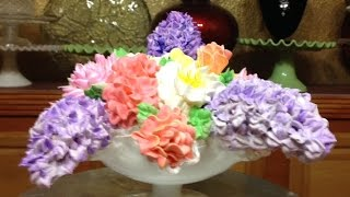 Spring Bouquet Cake In A Candy Dish- Buttercream -cake Decorating