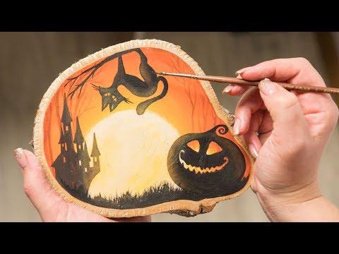 Halloween Theme - Acrylic painting on Piece of Wood / Homemade Illustration (4k)