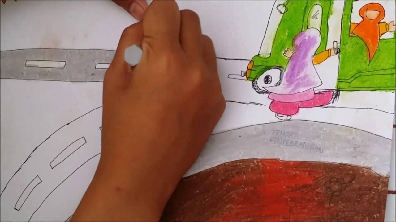 Menggambar Dan Mewarnai Dengan Crayon Contoh Gambar Bus Youtube