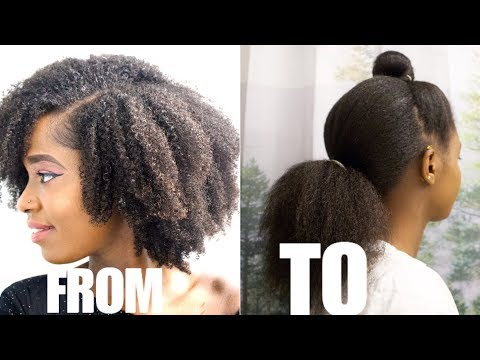 SUPER EASY AND FAST BLOW DRY, STRAIGHTEN + TRIM ROUTINE ON NATURAL HAIR
