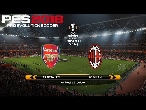 Pes 2018 (pc) arsenal v ac milan | uefa europa league round of 16 | 15/3/2018 |1080p 60fps