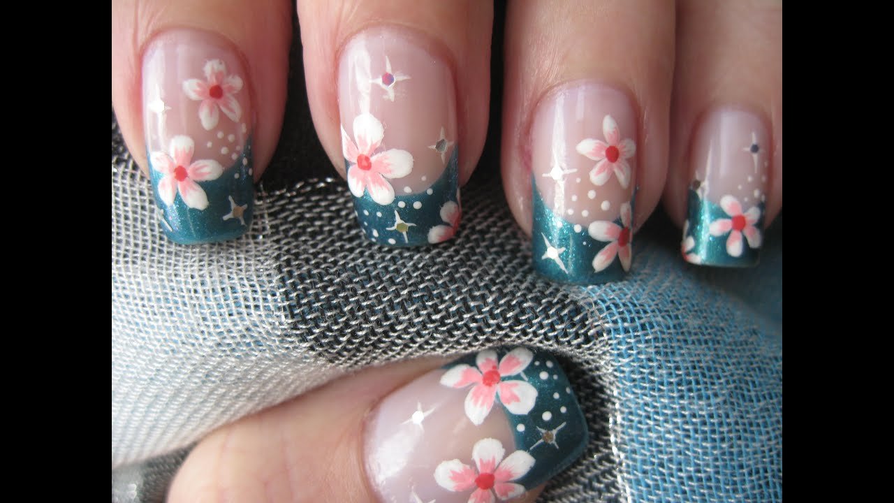 Nail art: French tip with flowers and stars - YouTube