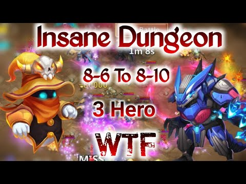 Insane Dungeon 8-6 To 8-10 | 3 Hero Only | Killing All Hero | 8-10 3 Flame | Castle Clash