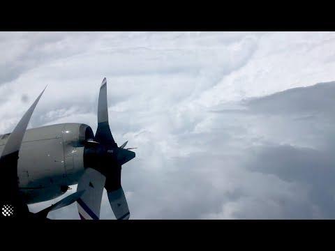 Incredible aerial view of inside Hurricane Dorian 2019