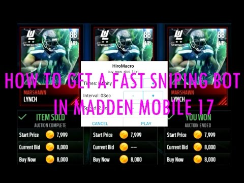HOW TO GET A FAST SNIPING BOT IN MADDEN MOBILE 17! ( ANDROID! MUST HAVE ROOT)