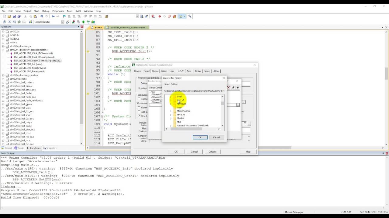 STM32F4 Programming in C 6- Accelerometer coding in Keil using STM32CubeMx
