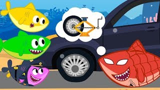 Baby Shark Family Car Tyre in Puddle - Super Hero Shark Comes to Help - Best Nursery Rhymes for Kids