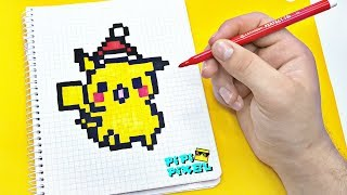 НОВОГОДНИЙ ПИКАЧУ Покемон Детектив Пикачу ! РИСУНКИ ПО КЛЕТОЧКАМ ! PIXEL ART Detective Pikachu